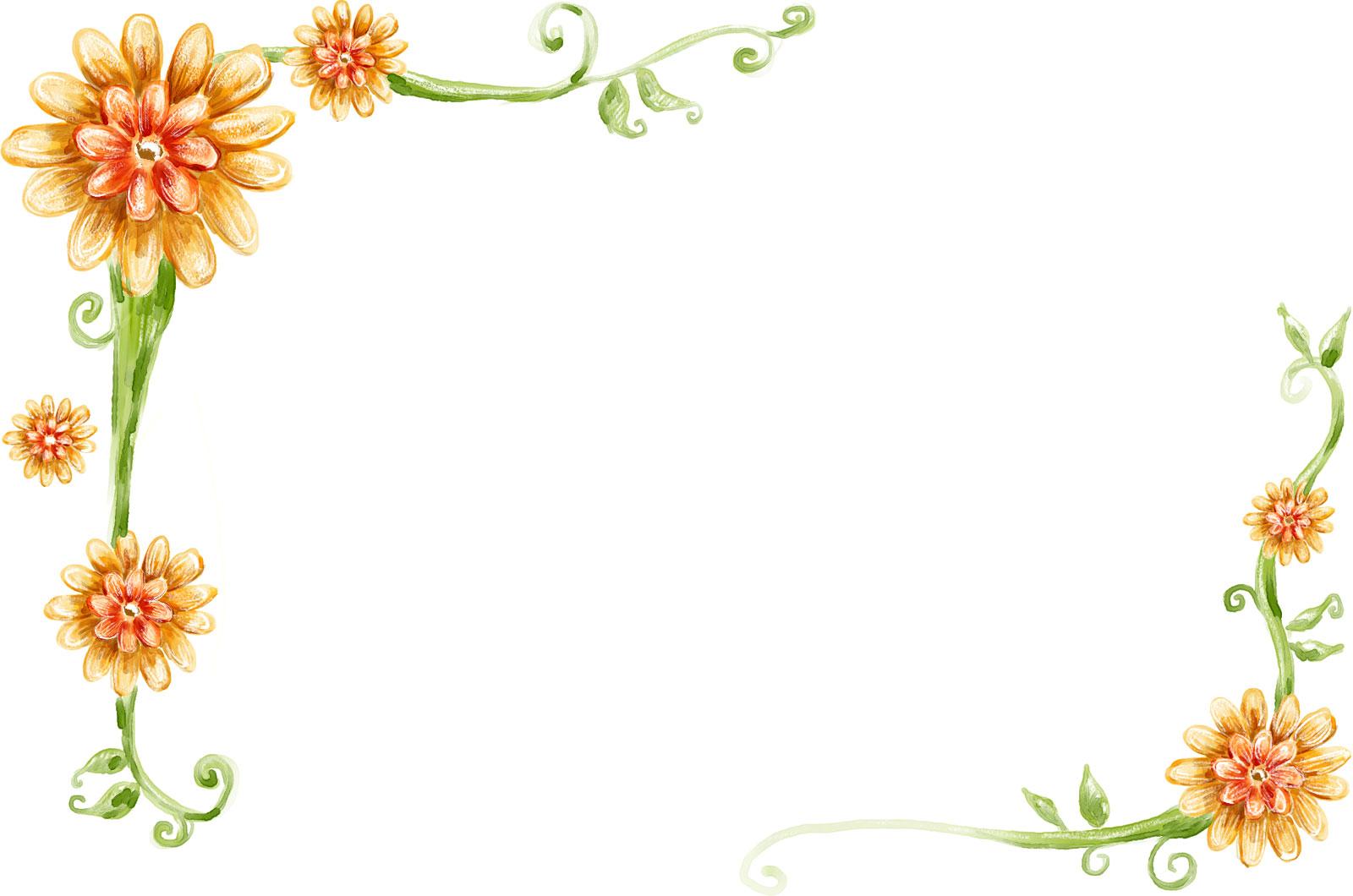 花のイラスト・フリー素材/フレーム枠no.397『手書き風-背景なし』