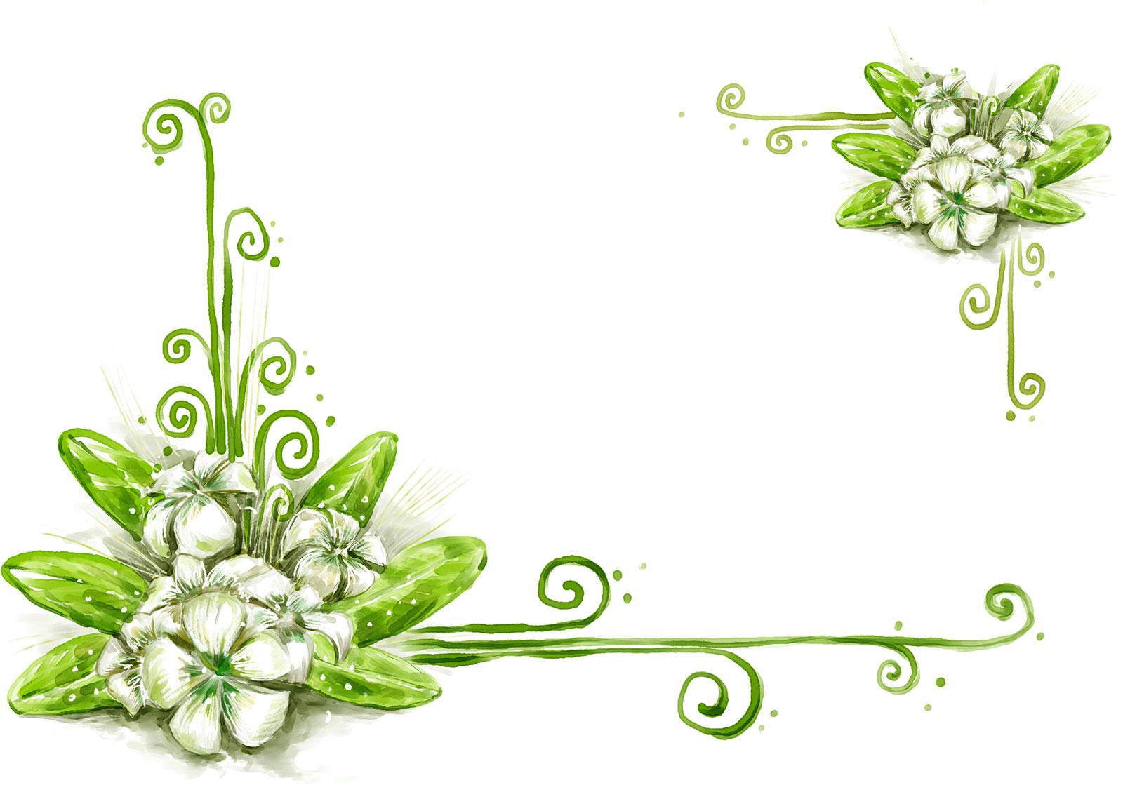 花のイラスト・フリー素材/フレーム枠no.401『手書き風-背景なし』