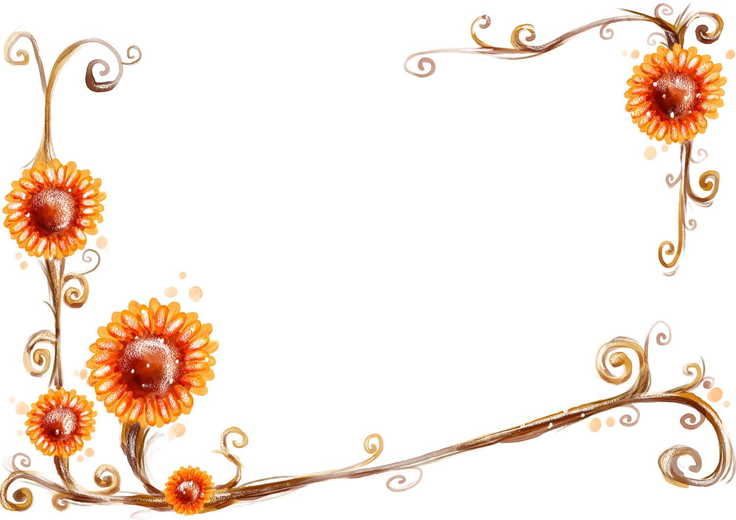 花のイラスト・フリー素材/フレーム枠no.407『手書き風-背景なし』