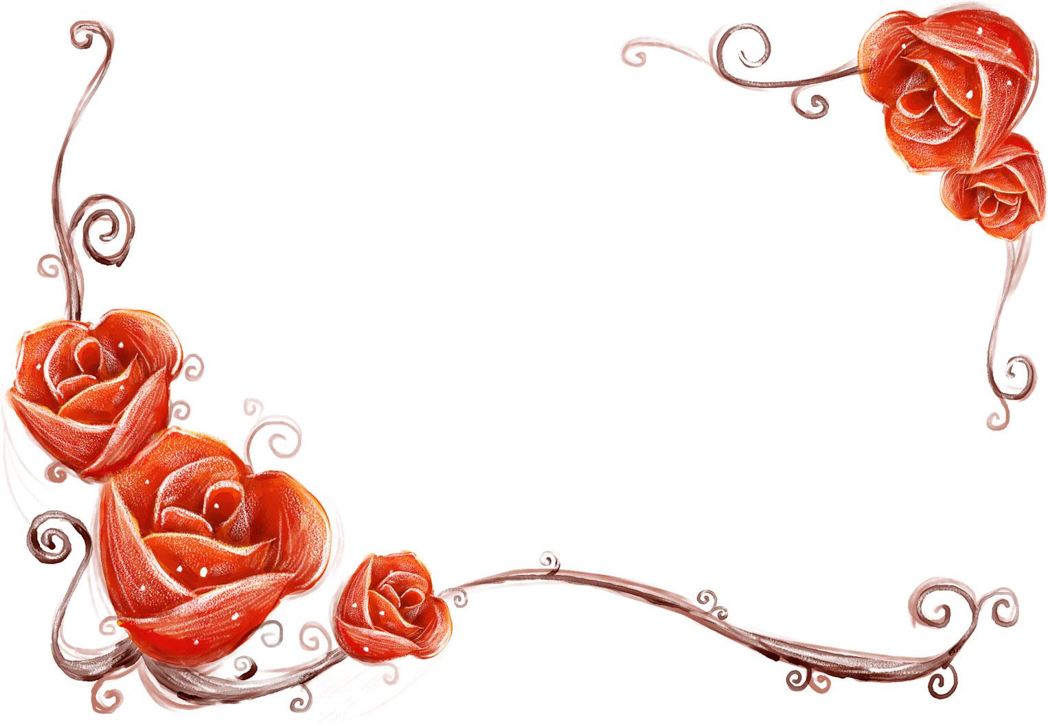 花のイラスト・フリー素材/フレーム枠no.409『手書き風-背景なし』