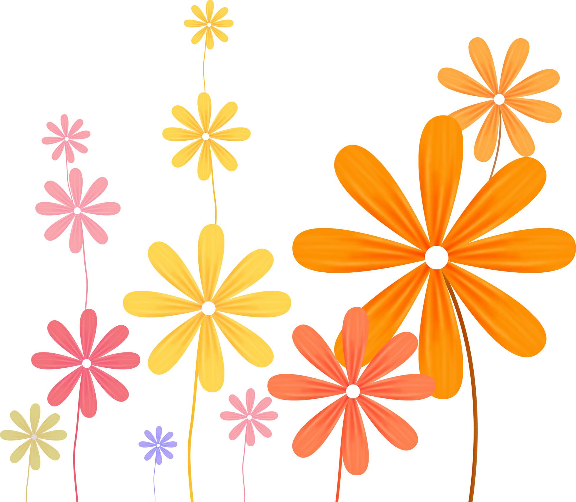 ポップでかわいい花のイラストフリー素材no005カラフル