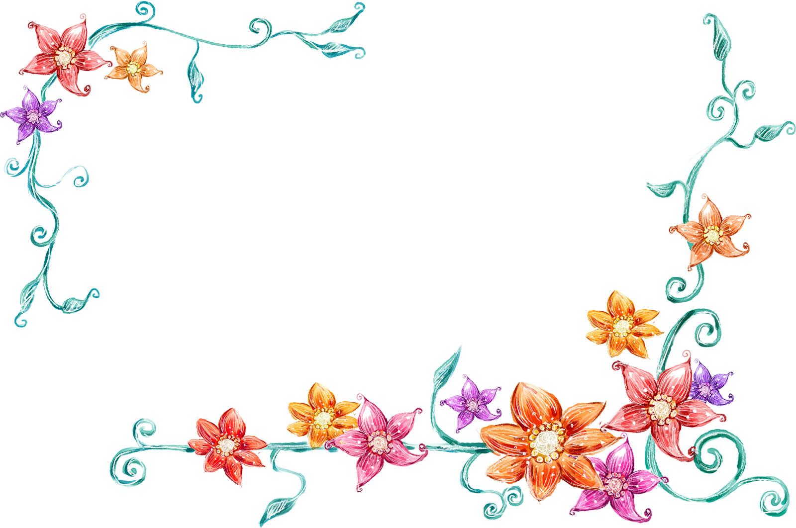 花のイラスト・フリー素材/フレーム枠no.411『手書き風 背景なし』