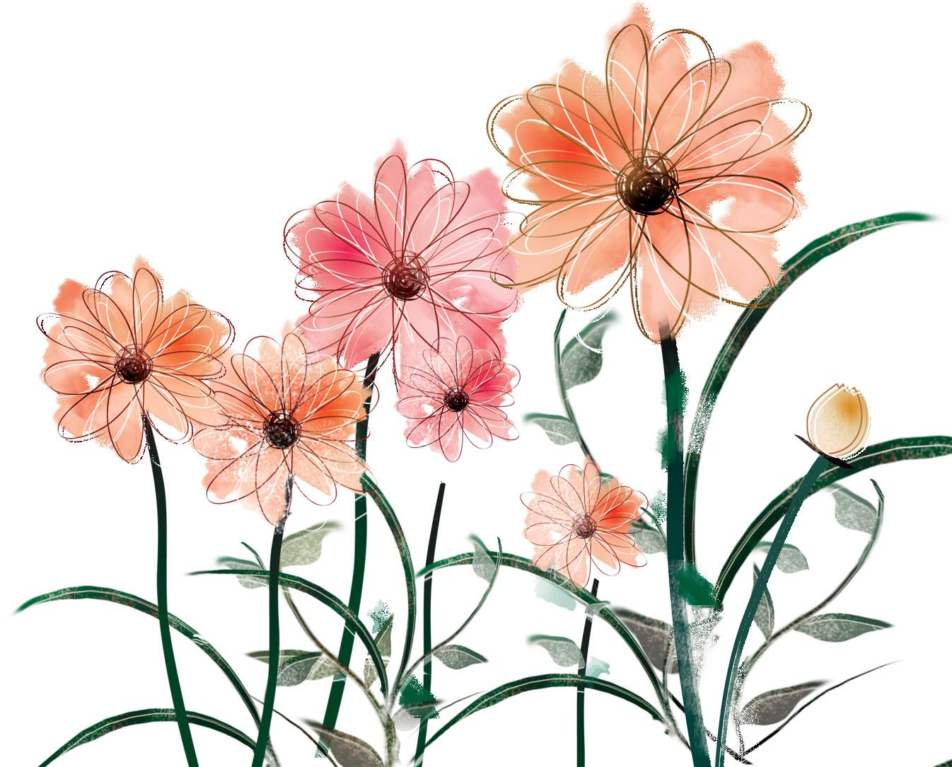赤い花のイラスト・フリー素材/no.312『和風テイスト』 : 和風の花