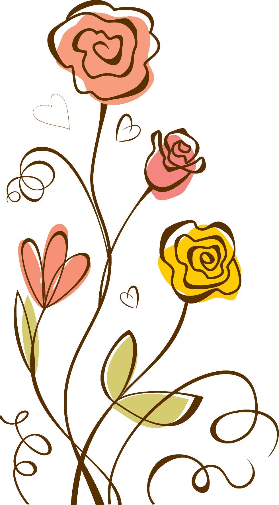 フルカラー・カラフルな花のイラスト・フリー素材/no.054『ハート
