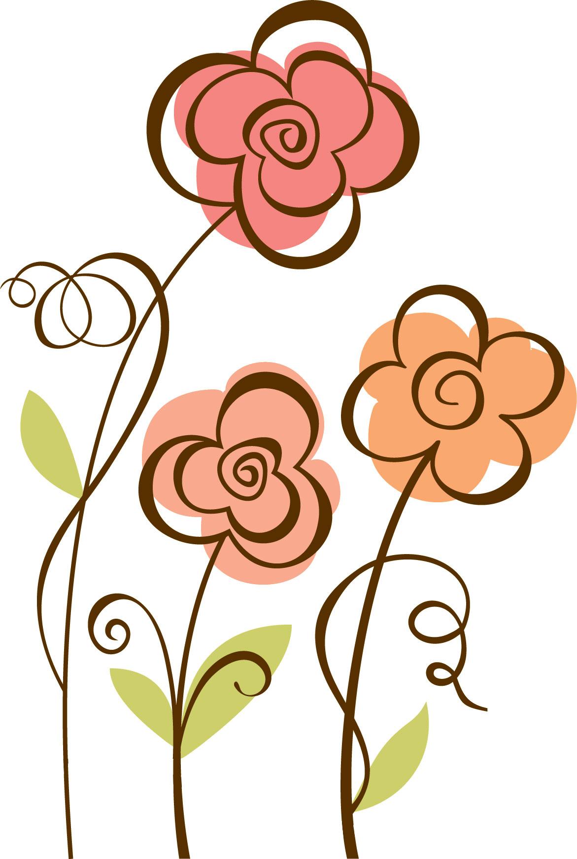 ポップでかわいい花のイラスト・フリー素材/no.023『シンプル・ぐるぐる』