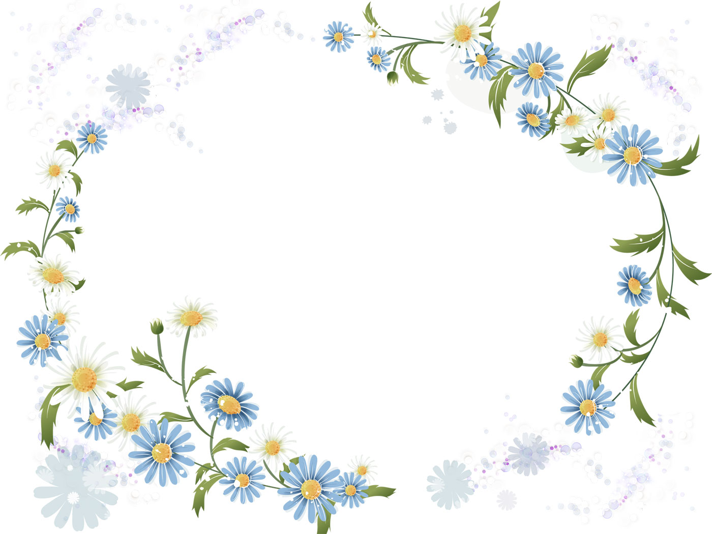 花のイラスト・フリー素材/フレーム枠no.61『コスモス・背景透過』