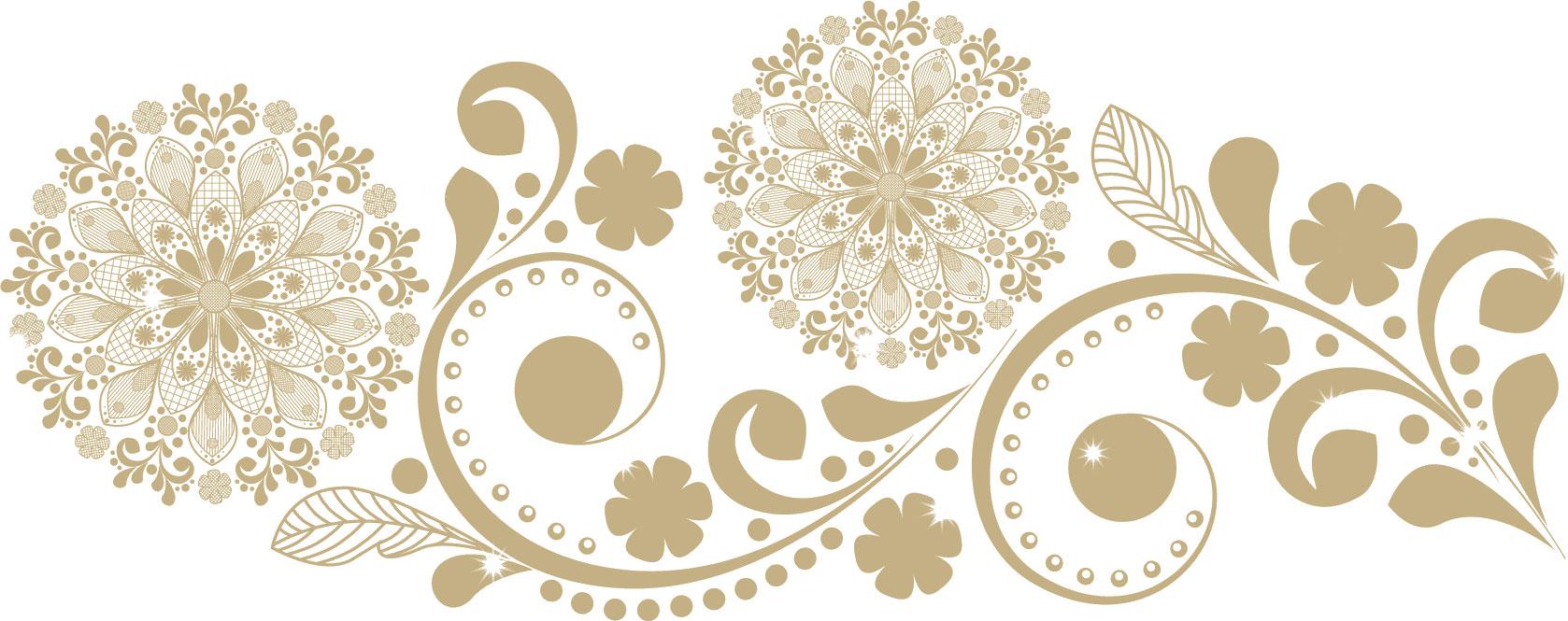 花のライン線イラスト-花と葉のイメージ