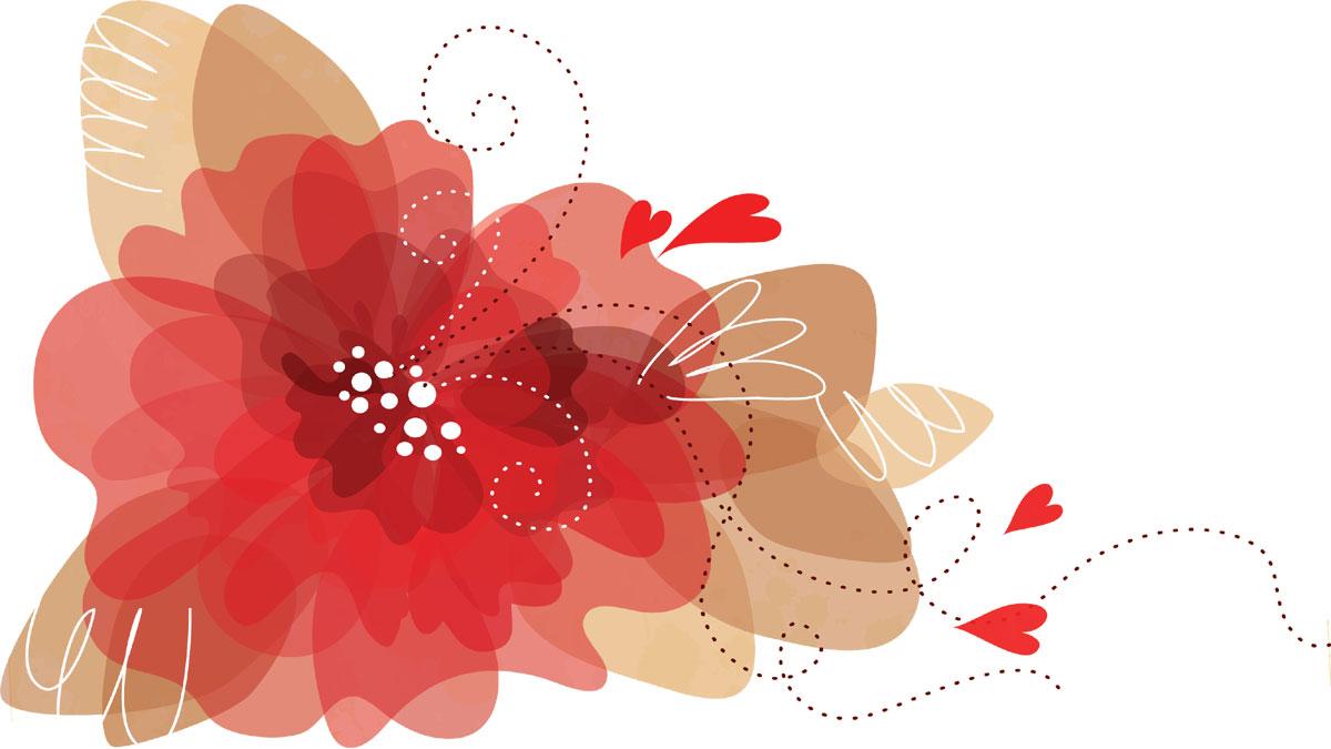 ポップでかわいい花のイラスト・フリー素材/no.117『透過・ハート』