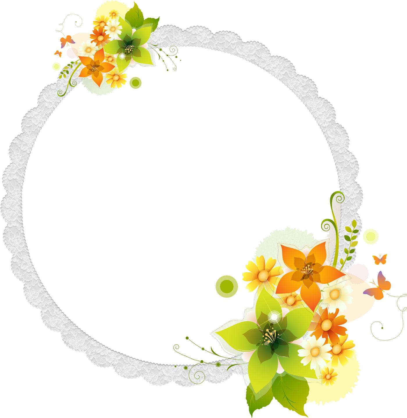 花のイラスト・フリー素材/フレーム枠no.80『カラフル・光源・蝶』