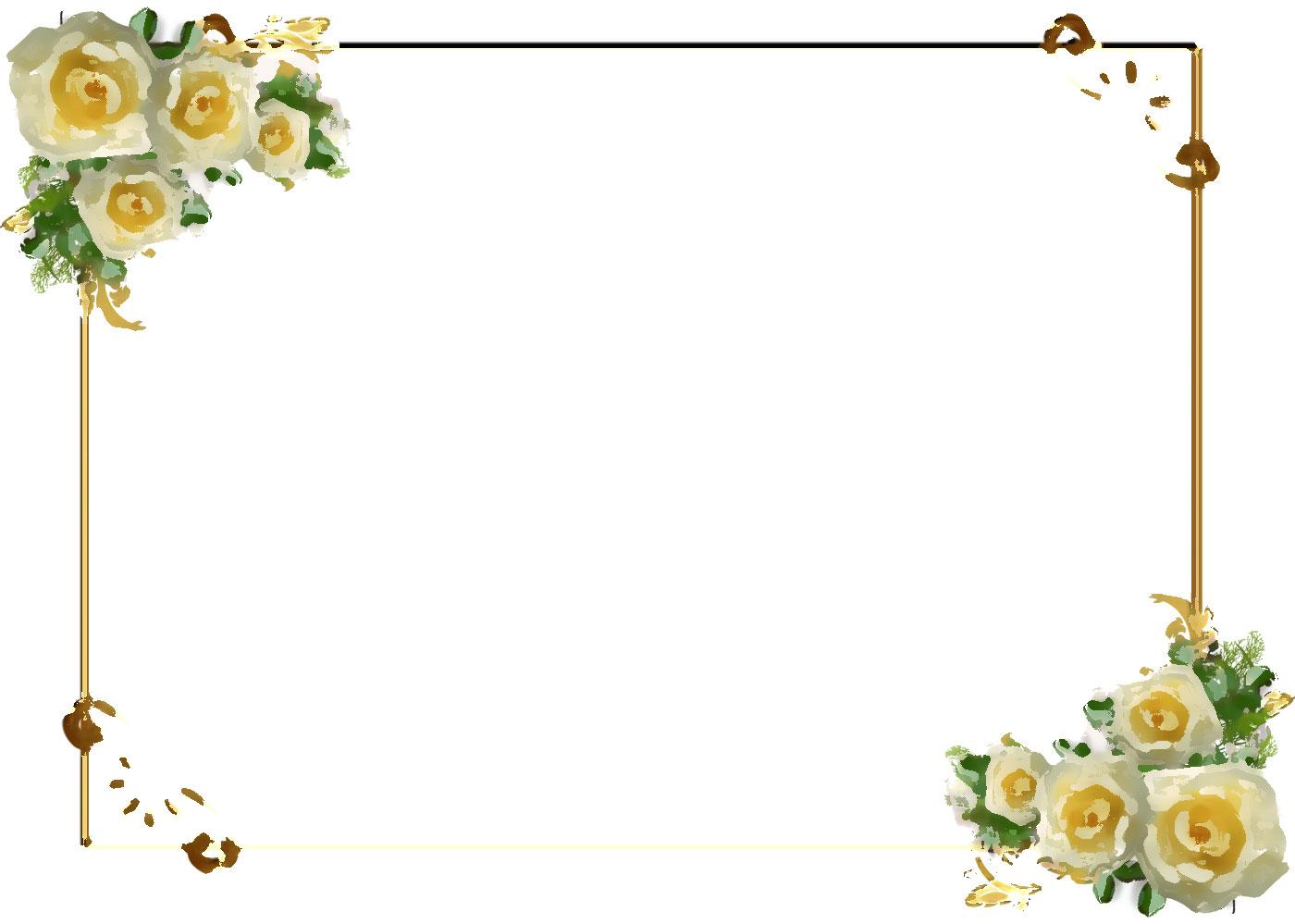 花のイラストフリー素材フレーム枠no441白バラキラキラ光源