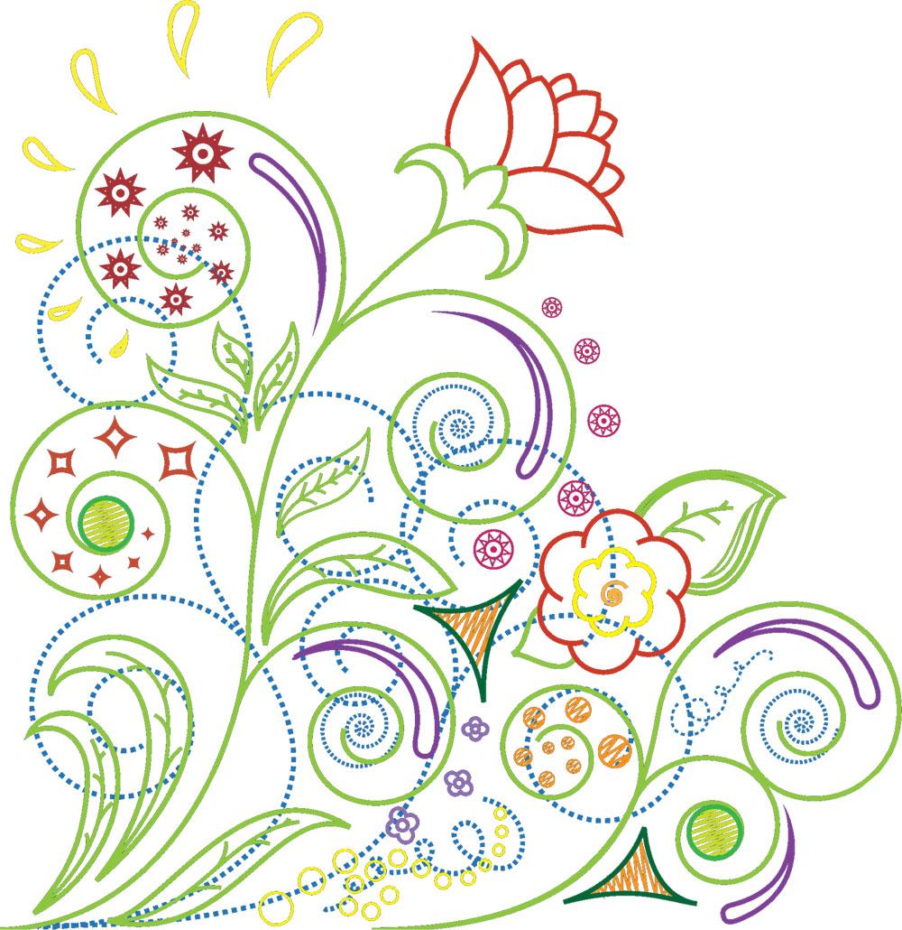 ポップでかわいい花のイラストフリー素材no121円点線模様