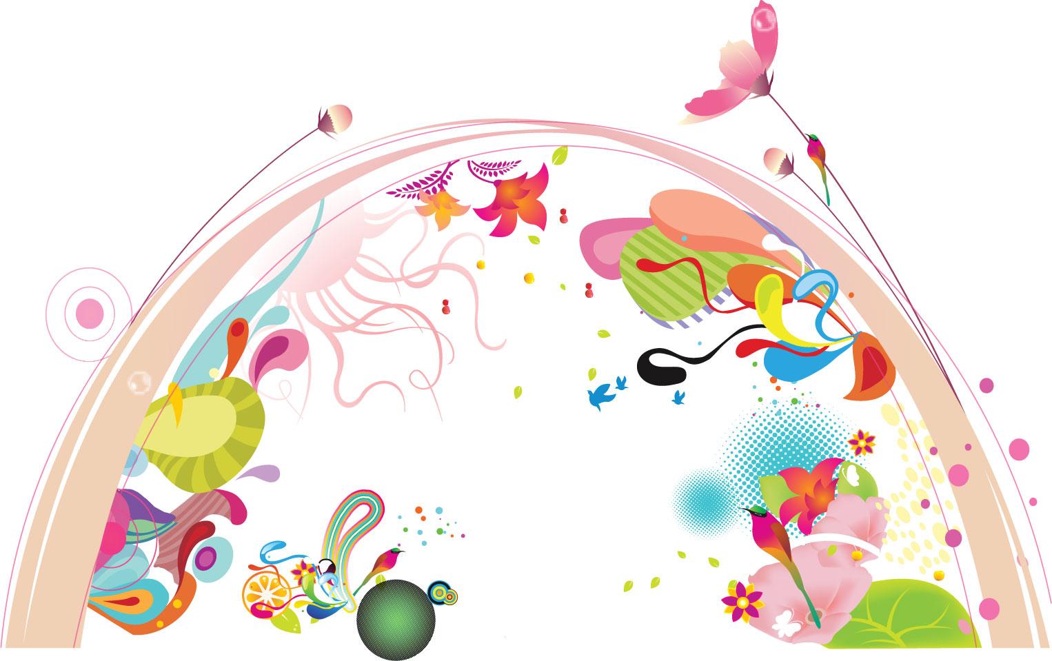 ポップでかわいい花のイラスト・フリー素材/no.125『半円・カラフル