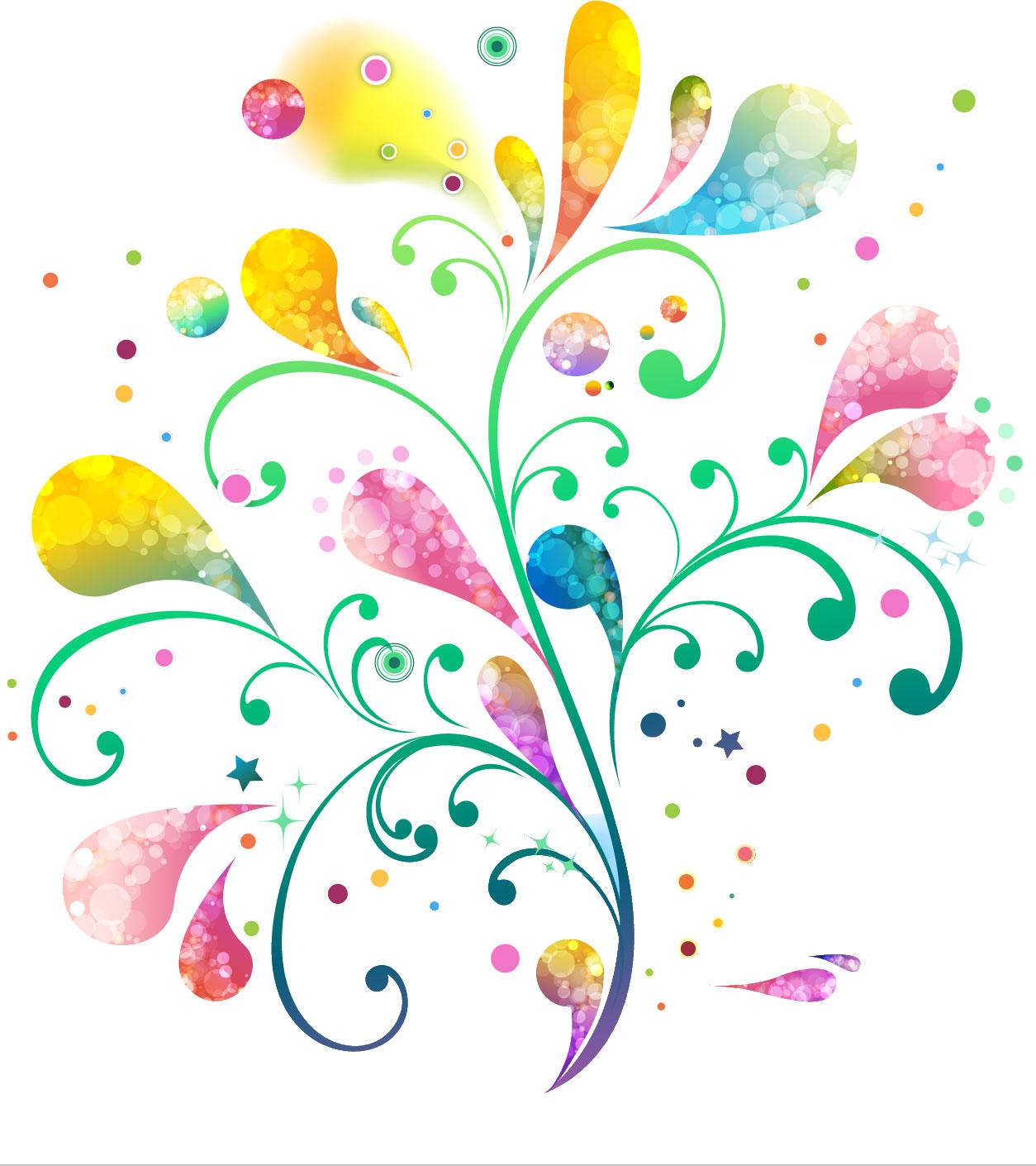 ポップでかわいい花のイラストフリー素材no126虹色グラデーション