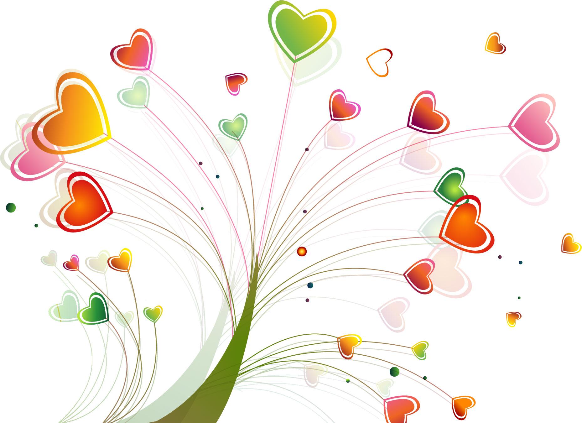 ポップでかわいい花のイラスト・フリー素材/no.128『ハートの木