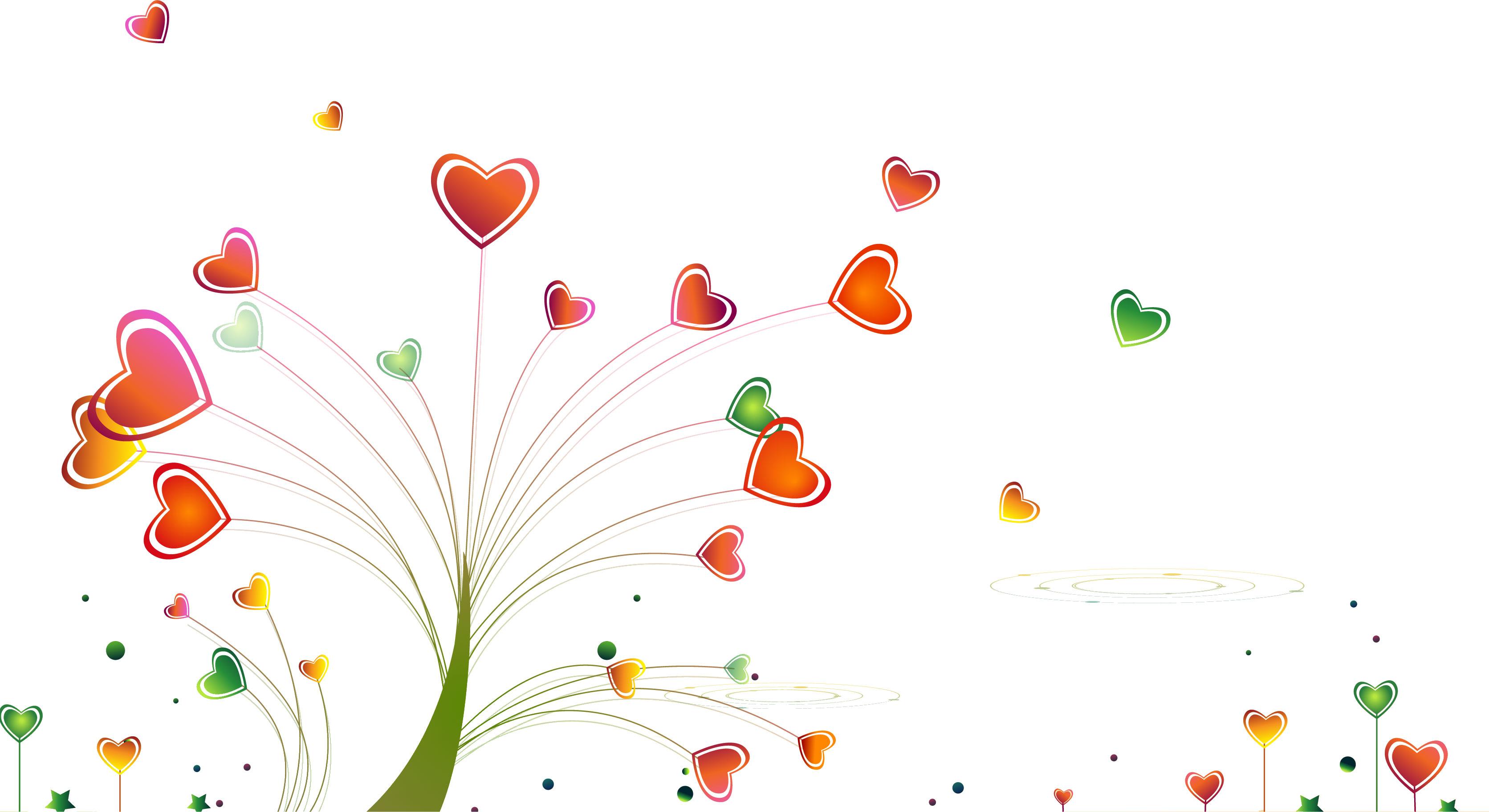 ポップでかわいい花のイラスト・フリー素材/no.129『ハートの木