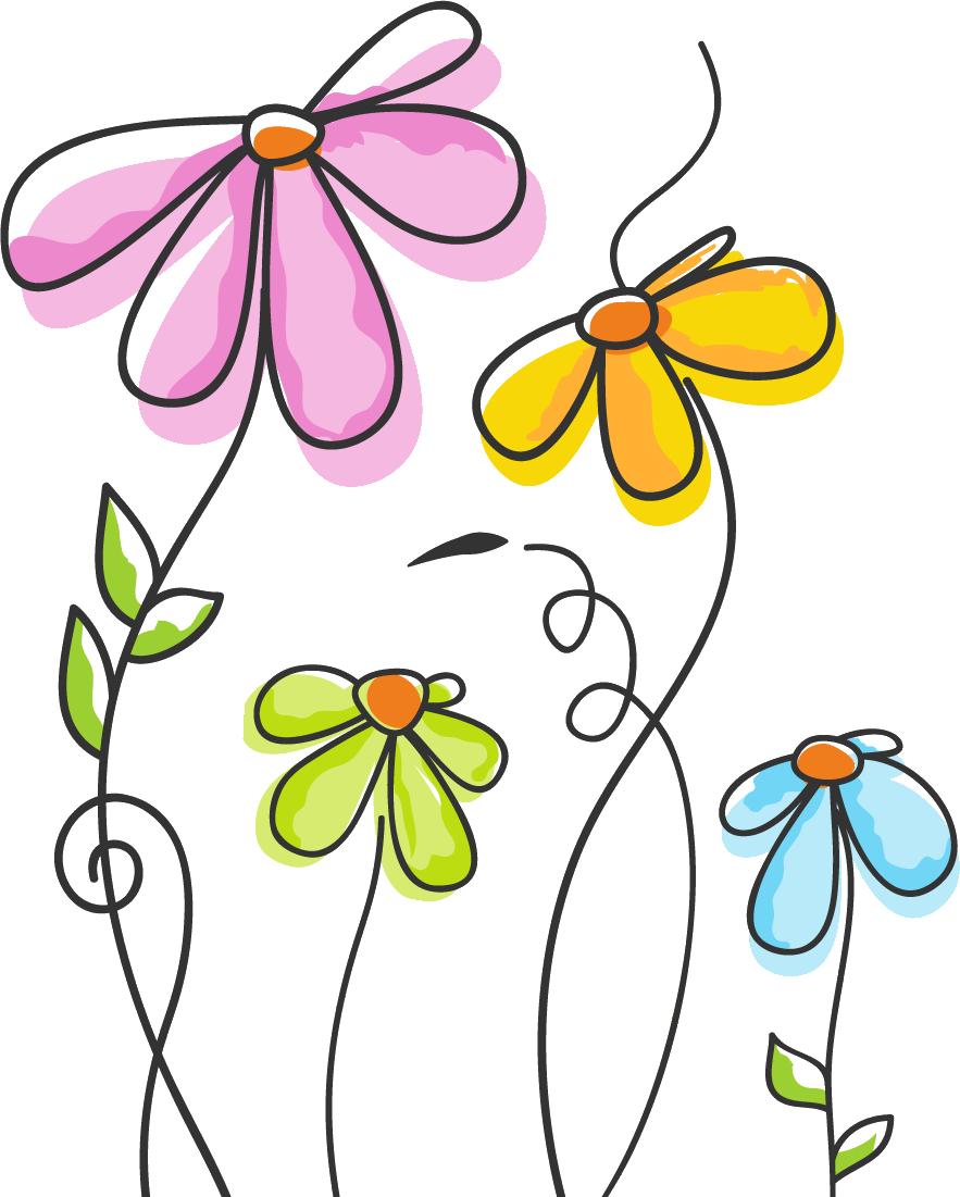 ポップでかわいい花のイラストフリー素材no140カラフル