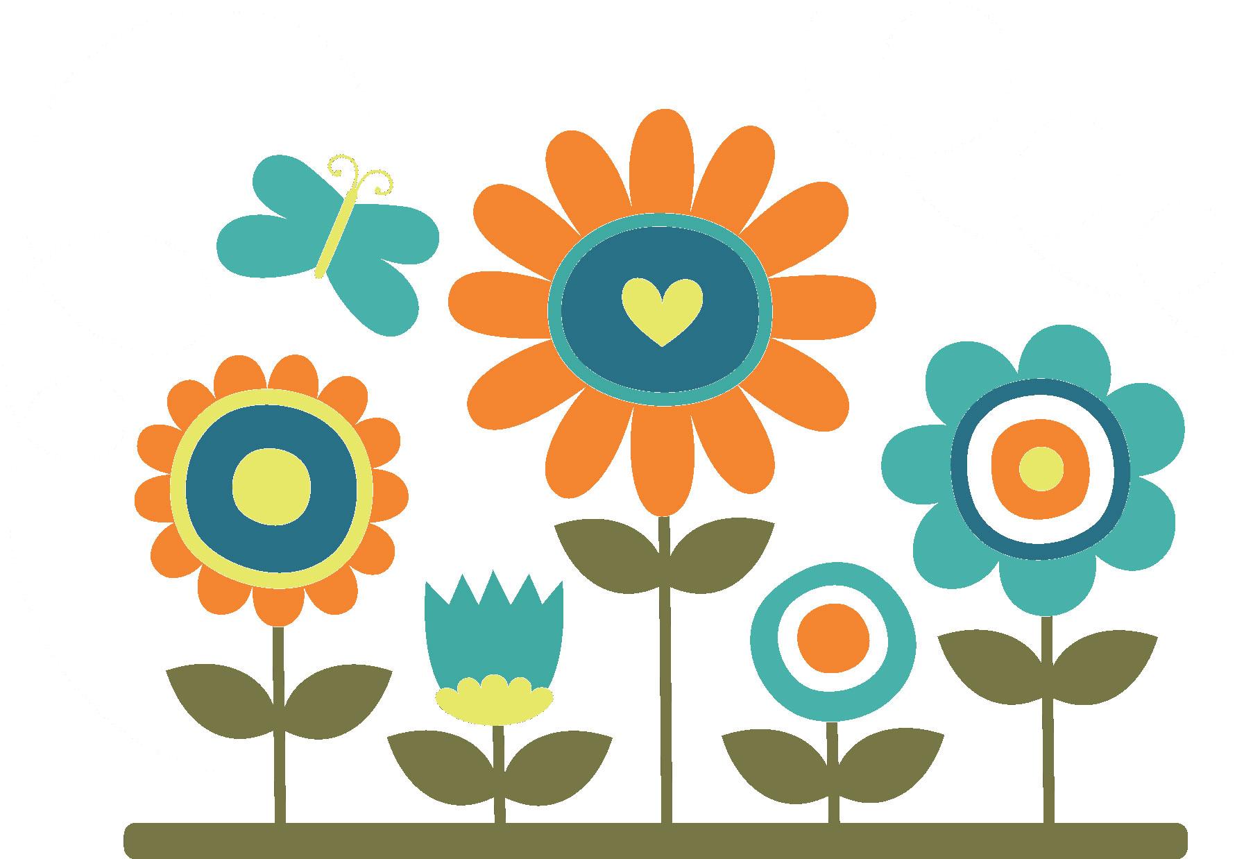 ポップでかわいい花のイラスト・フリー素材/no.154『背比べ・ハート・蝶』