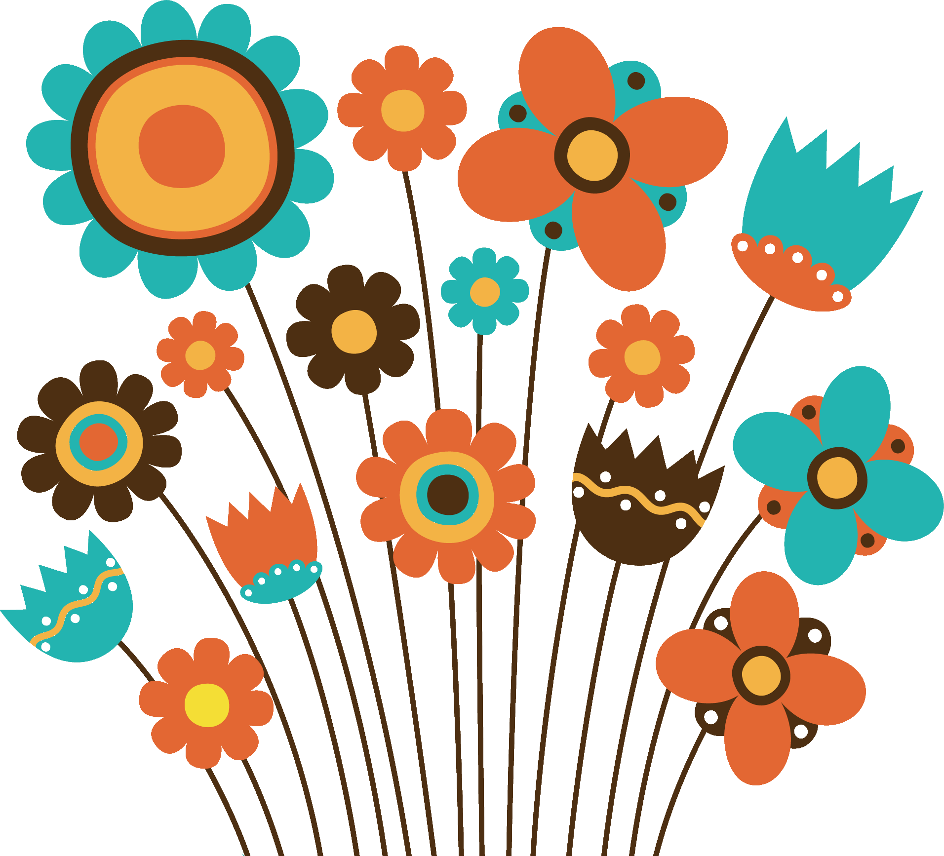 ポップでかわいい花のイラスト・フリー素材/no.167『いろんな花ver2』