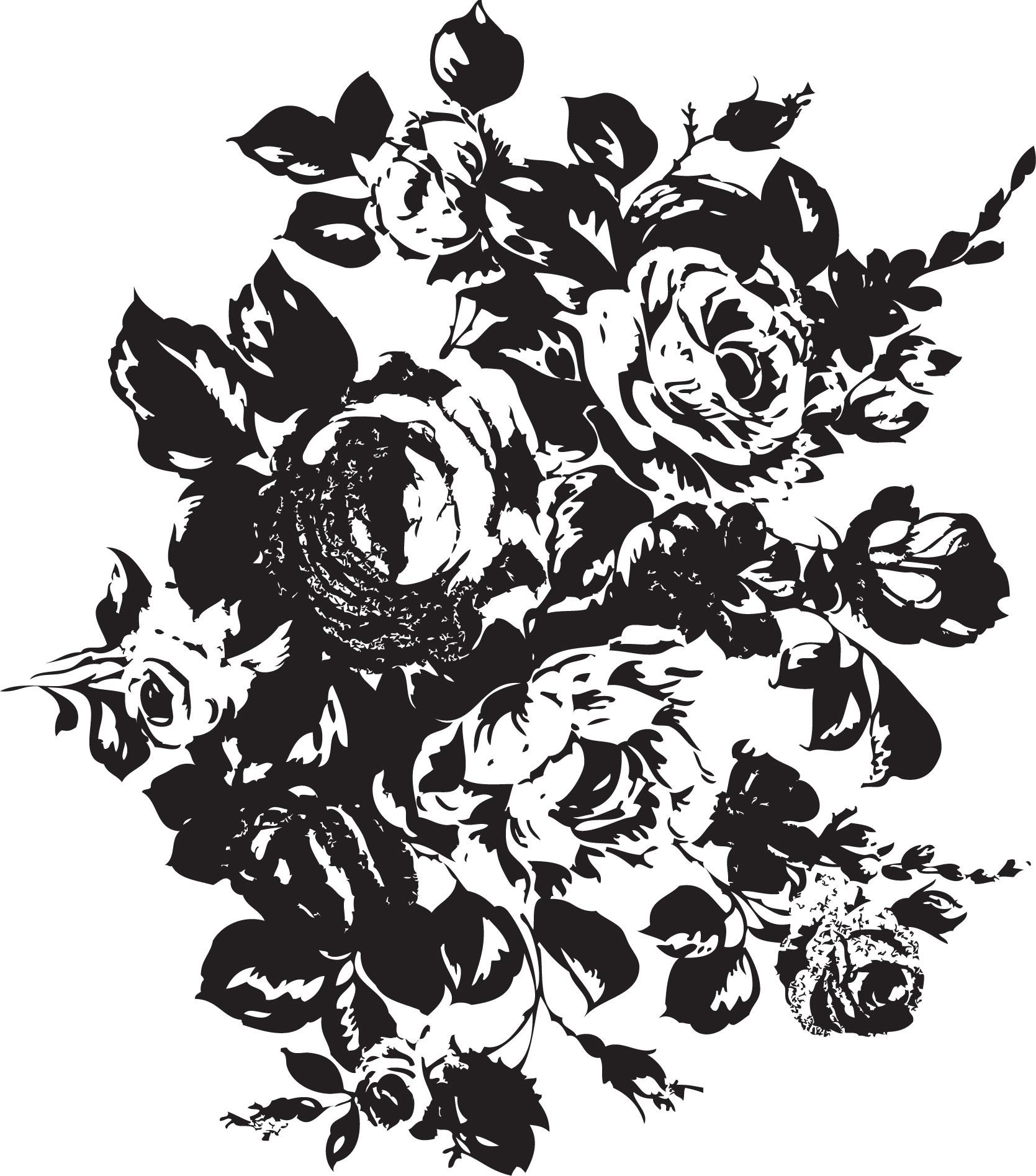 花のイラストフリー素材白黒モノクロno162バラの束