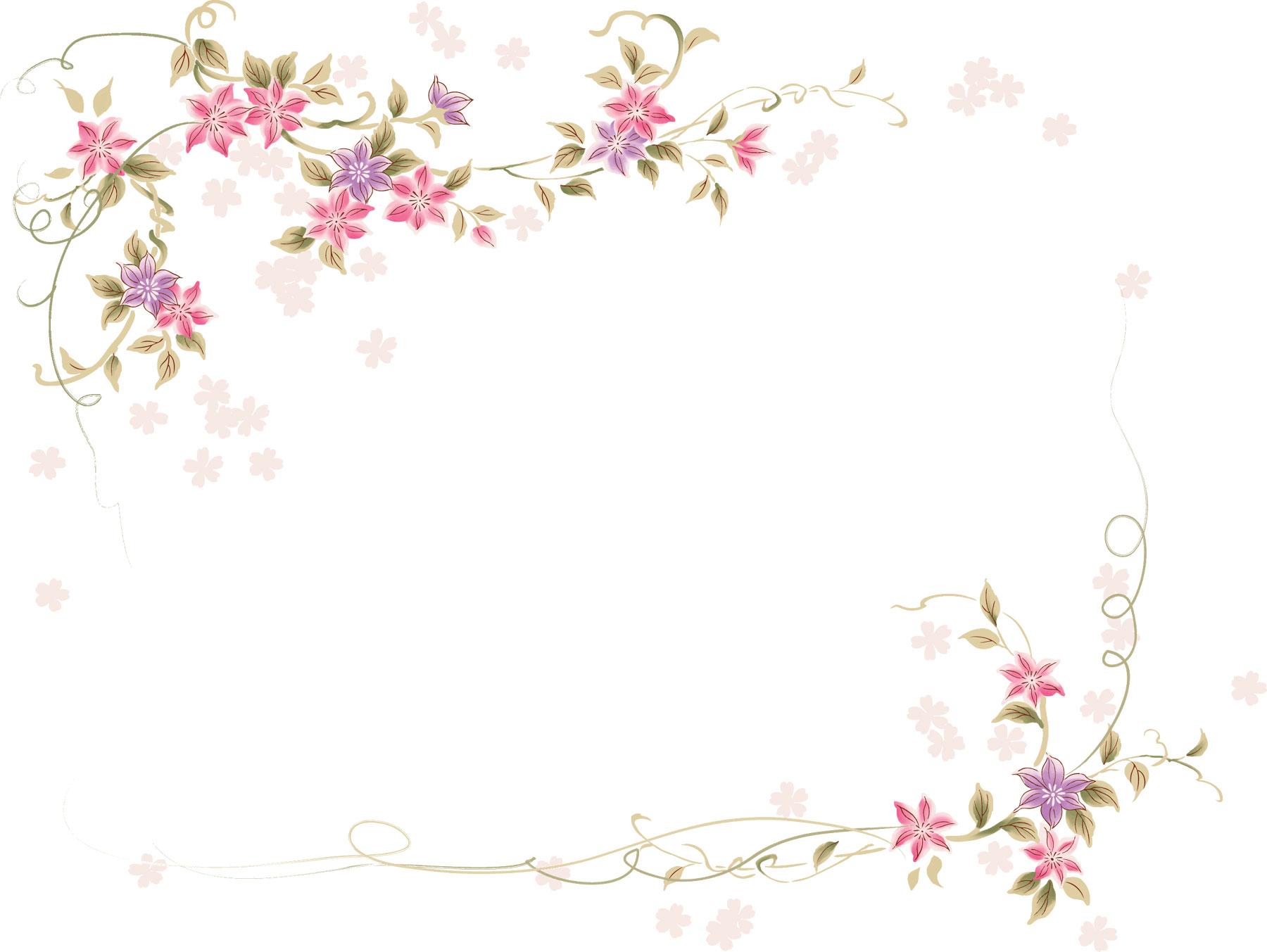 花のイラストフリー素材フレーム枠no450舞い散る花びら赤紫