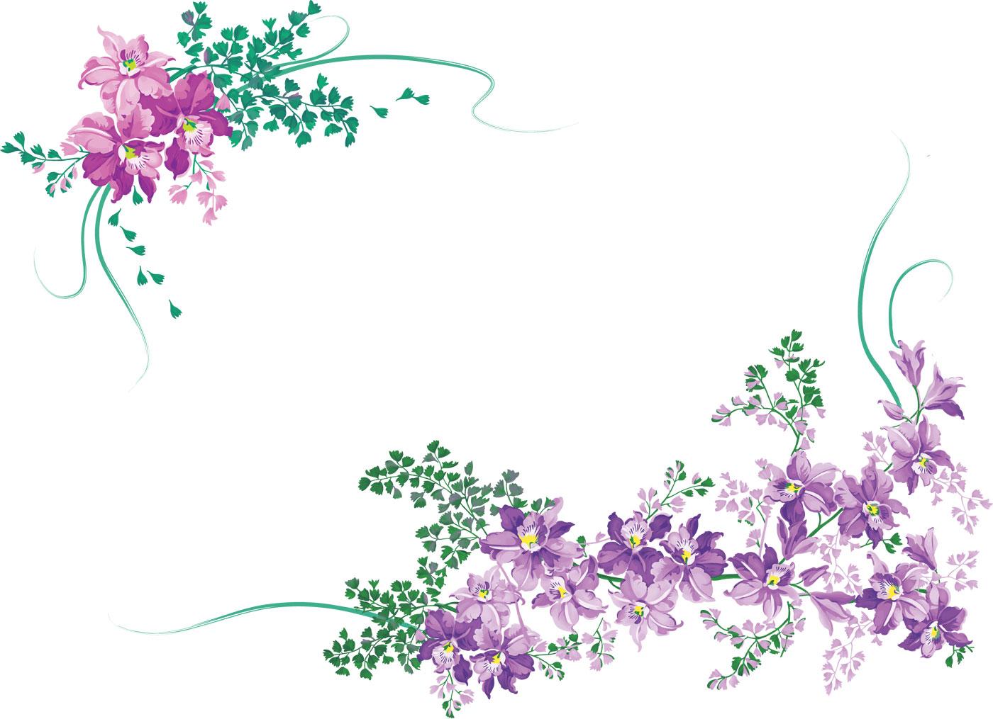 花のイラストフリー素材フレーム枠no451紫散る葉