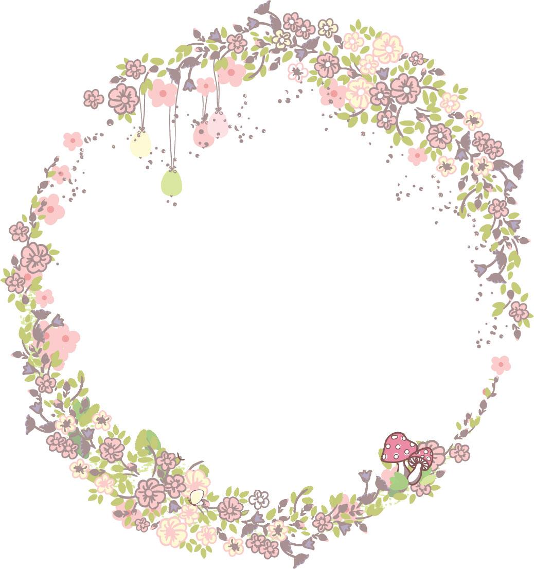 かわいいポップな花のイラスト『フレーム枠』/無料のフリー素材集