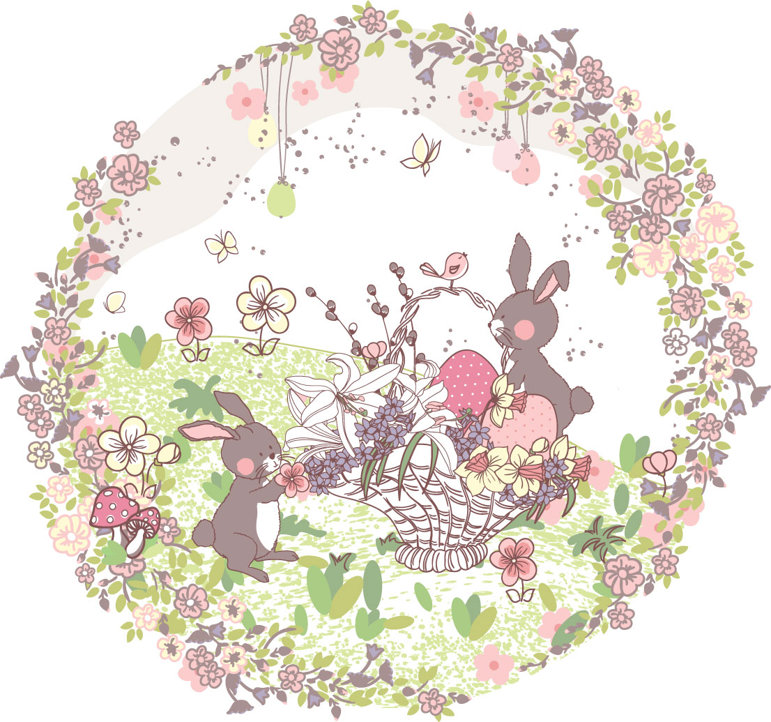 ポップでかわいい花のイラスト・フリー素材/no.169『うさぎ・鳥・蝶』