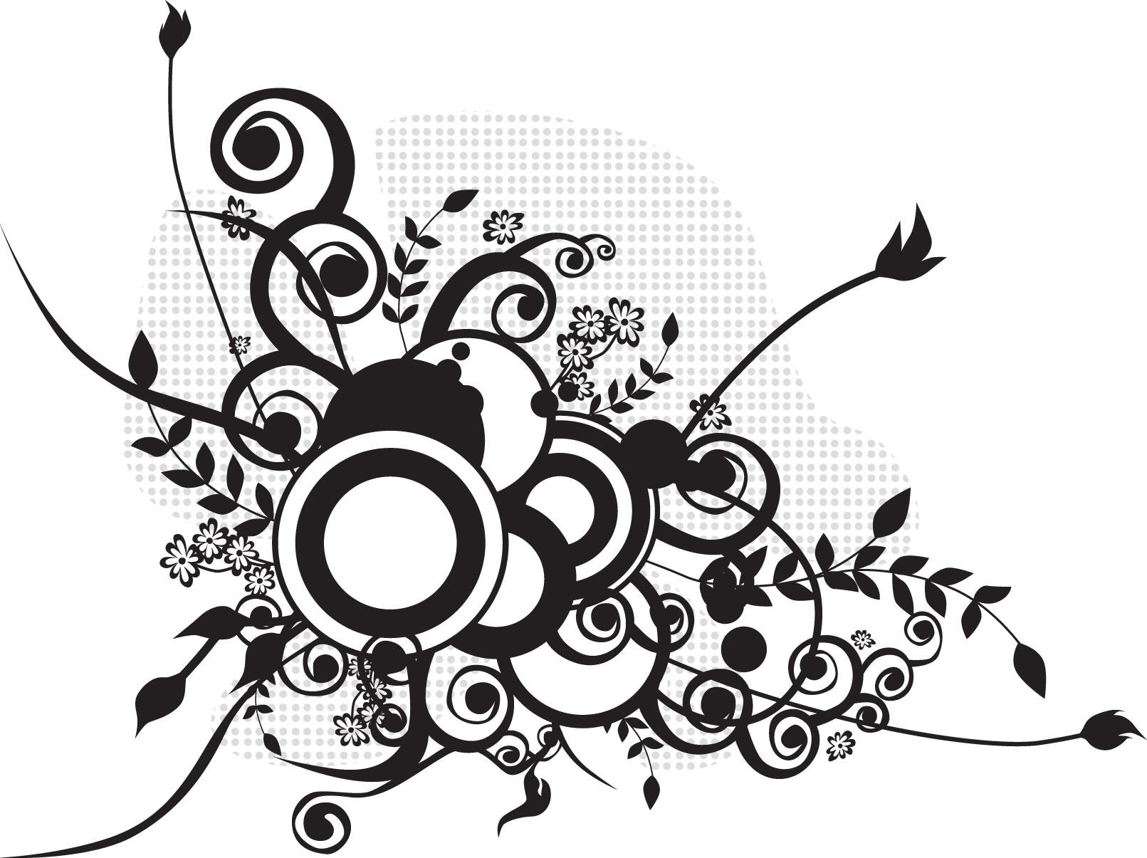 花のイラスト・フリー素材/白黒・モノクロno.567『円・蔓・葉』
