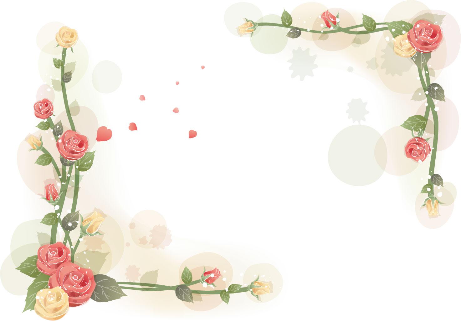 花のイラスト・フリー素材/フレーム枠no.462『赤黄のバラ・つぼみ』