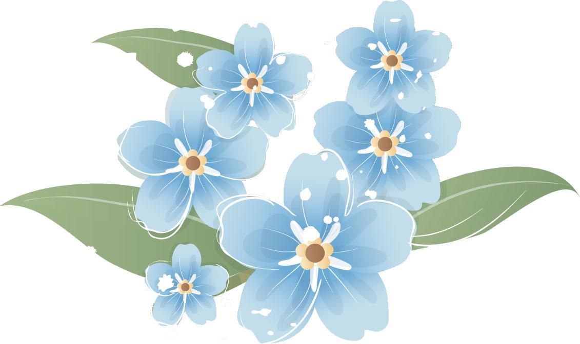 青い花のイラストフリー素材no227ブルーフラワー