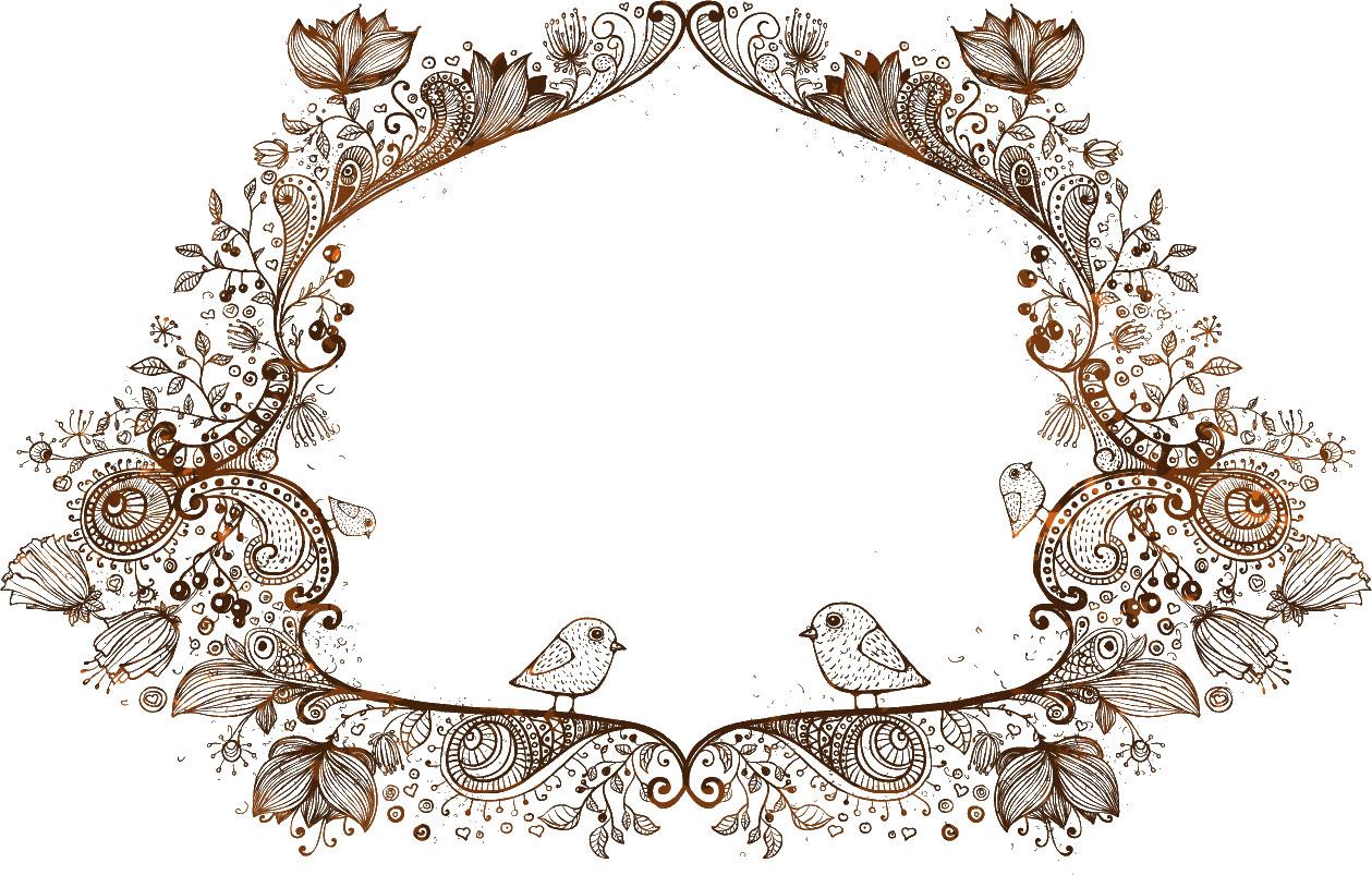 花のイラスト・フリー素材/フレーム枠no.42『詳細デザイン・鳥』
