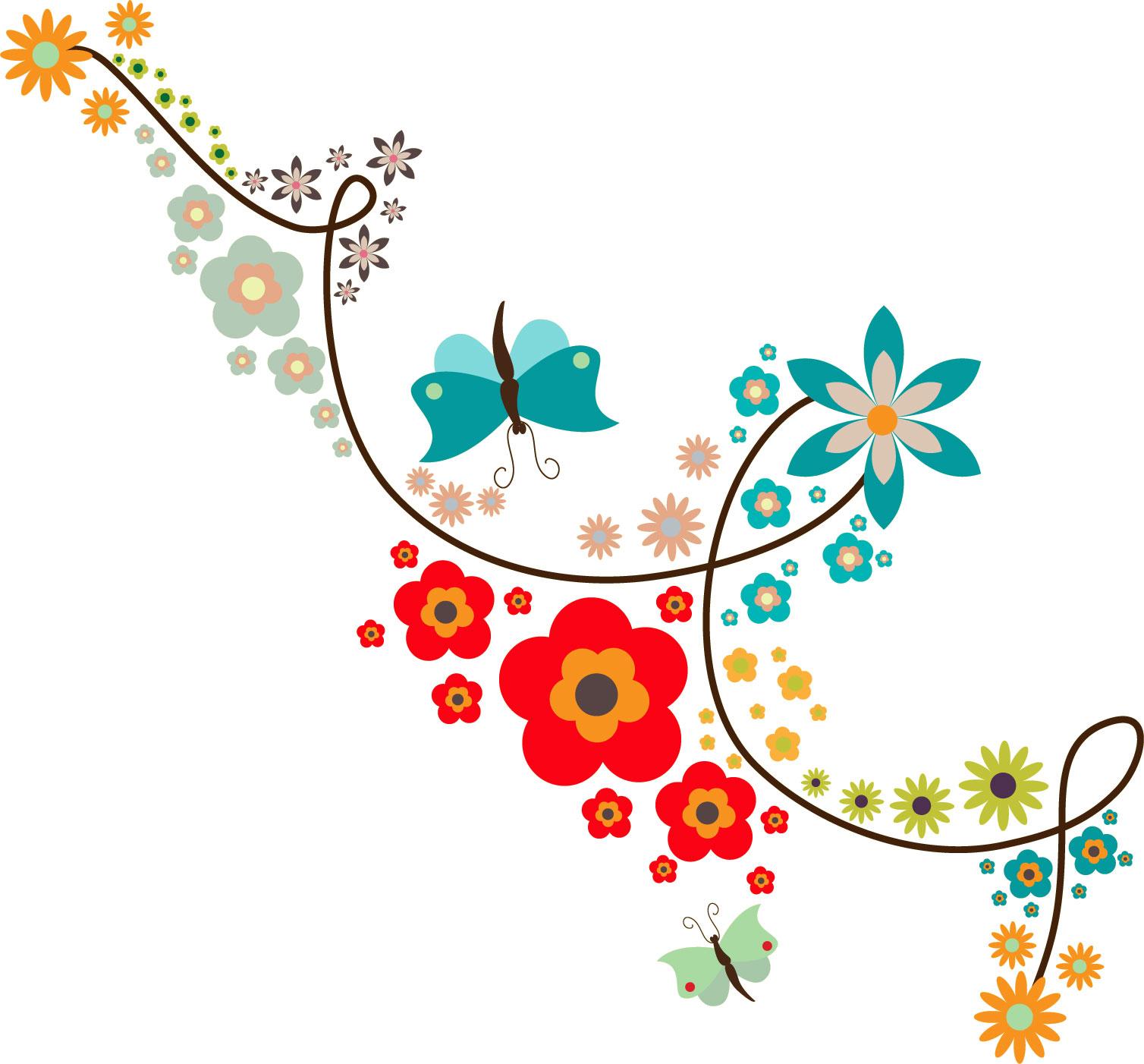 ポップでかわいい花のイラスト・フリー素材/no.187『カラフル・蝶』