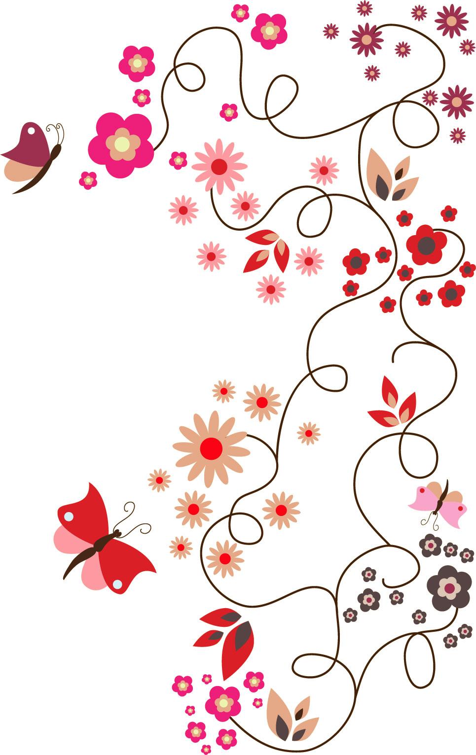 ポップでかわいい花のイラスト・フリー素材/no.190『赤基調・蝶』