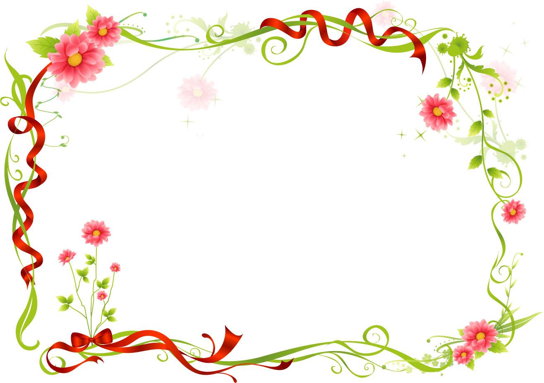 花のイラスト・フリー素材/フレーム枠no.475『レッドリボン・ピンク』