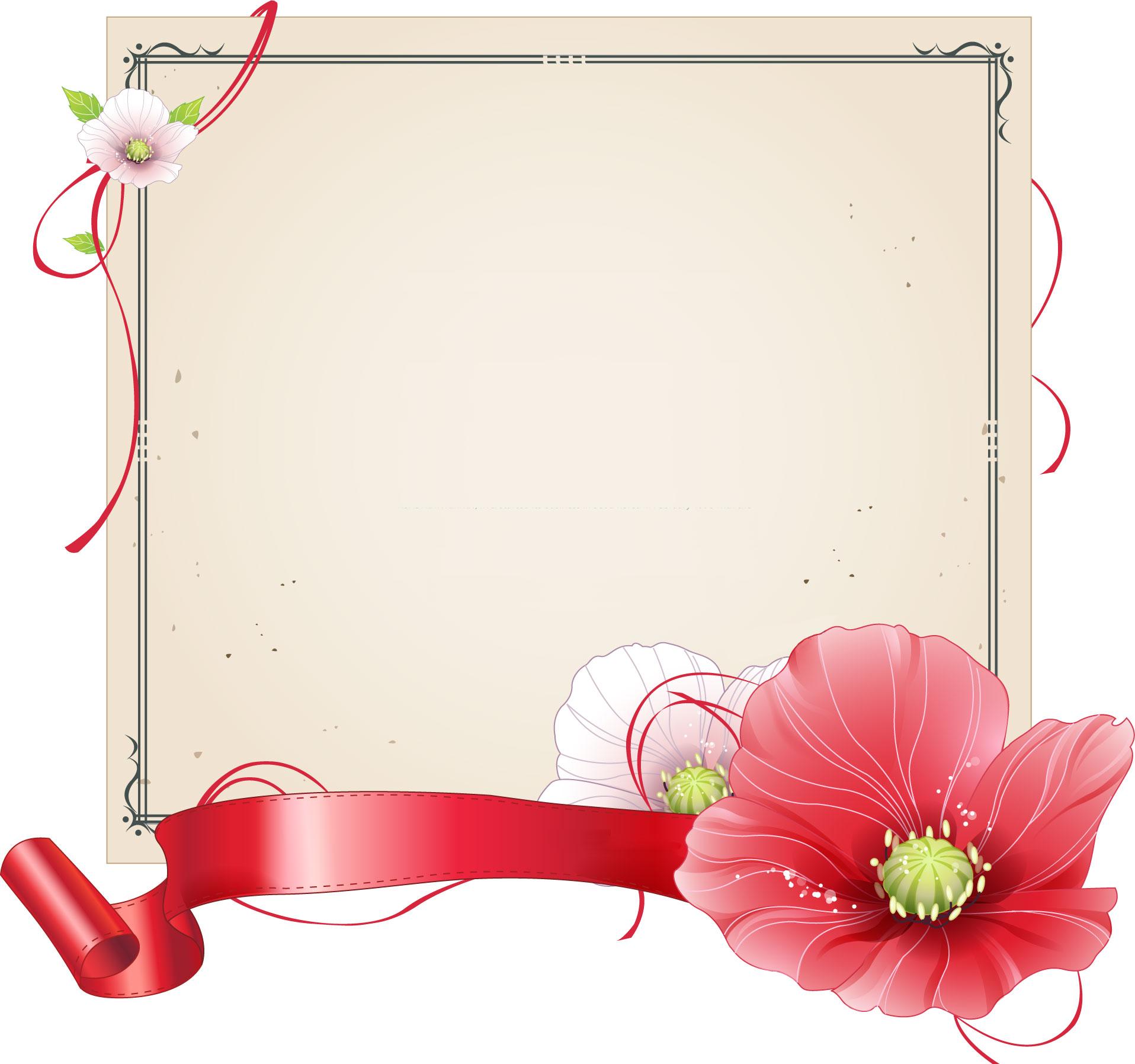 花のイラスト・フリー素材/フレーム枠no.373『色紙・リボン・赤白』