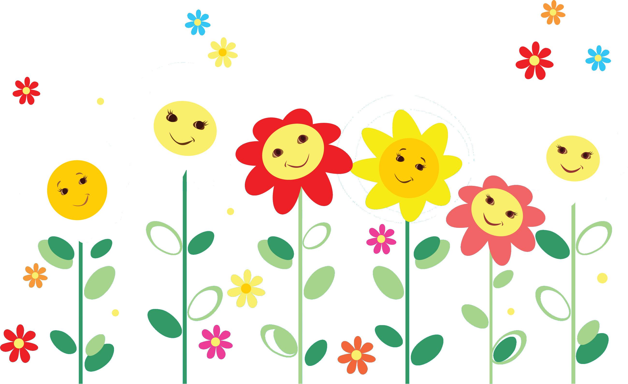 ポップでかわいい花のイラストフリー素材no046フラワーフェイス