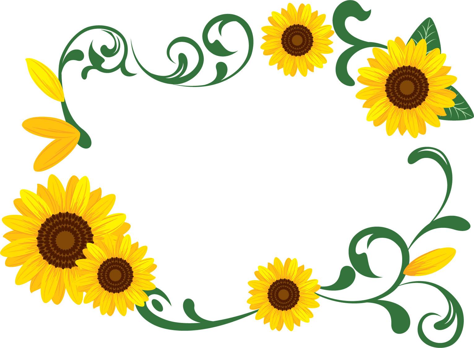 花のイラスト・フリー素材/フレーム枠no.100『ひまわり・茎・つぼみ』