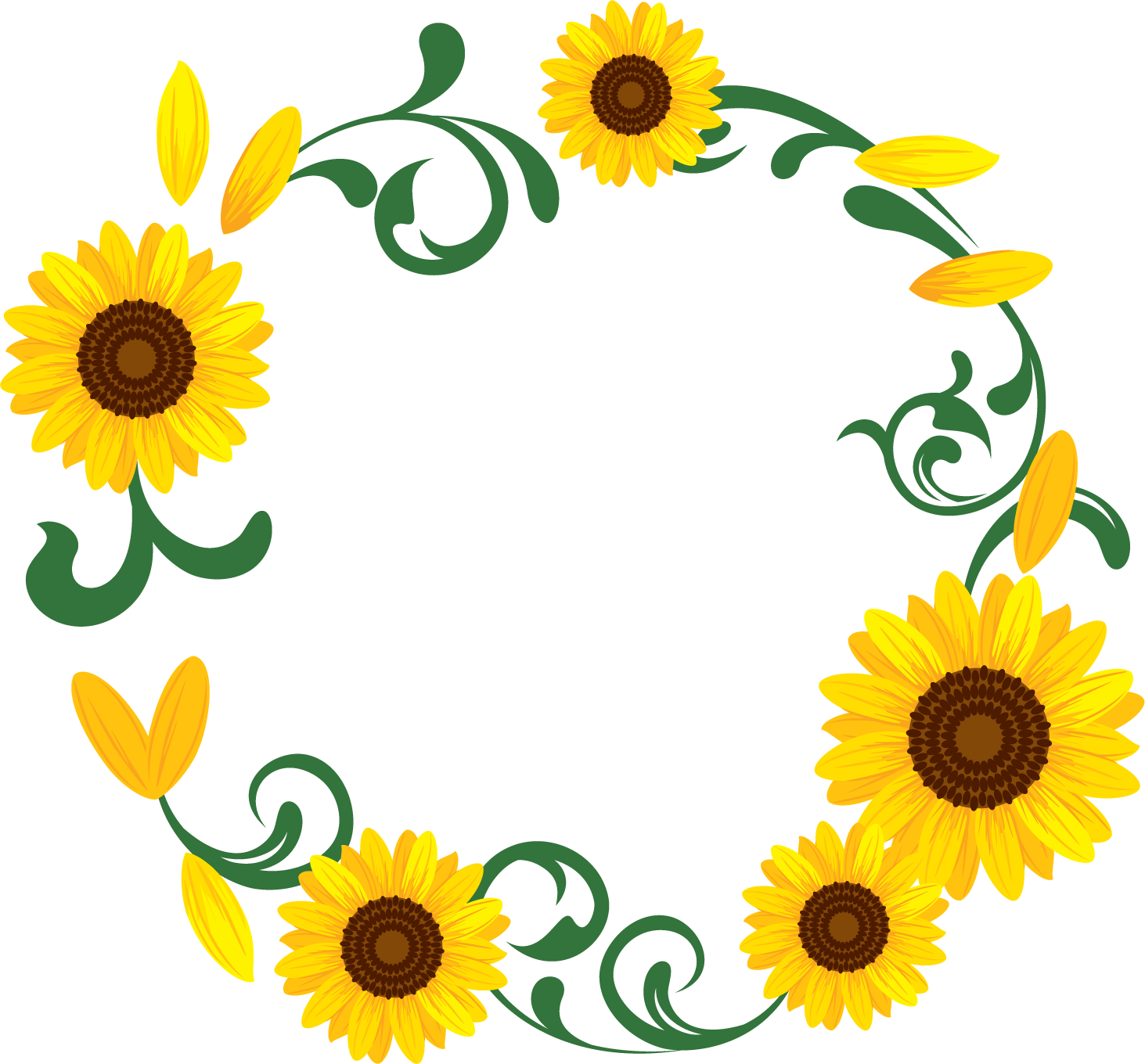 花のイラスト・フリー素材/フレーム枠no.101『ひまわり・茎・つぼみ』