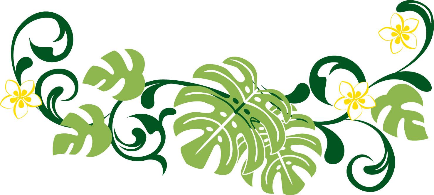 花のライン線イラスト-大きな葉 花のイラスト・フリー素材 『ライン線・ボーダー線』 花のイラスト