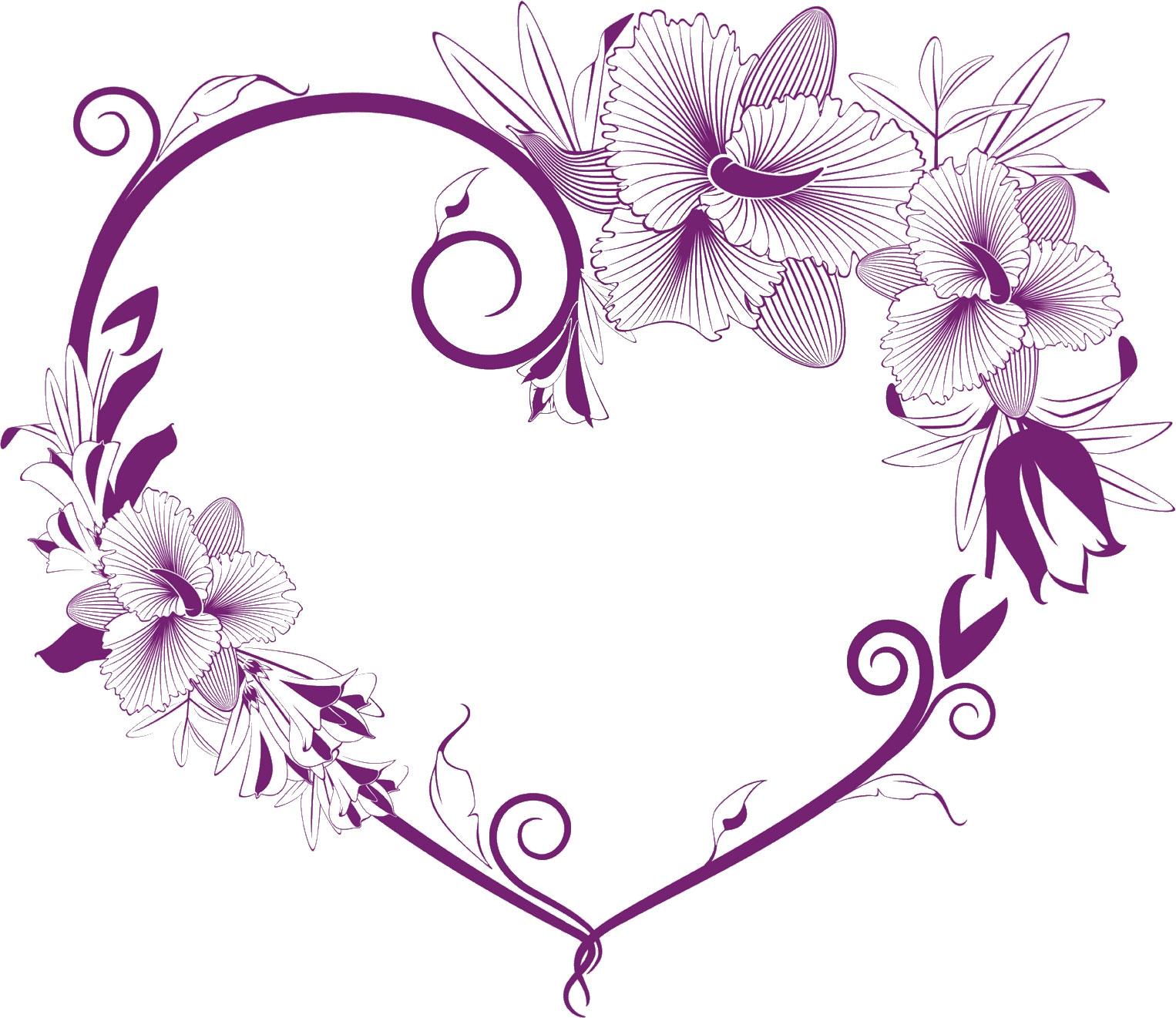花のイラスト・フリー素材/フレーム枠no.222『紫・縦縞・ハート型』