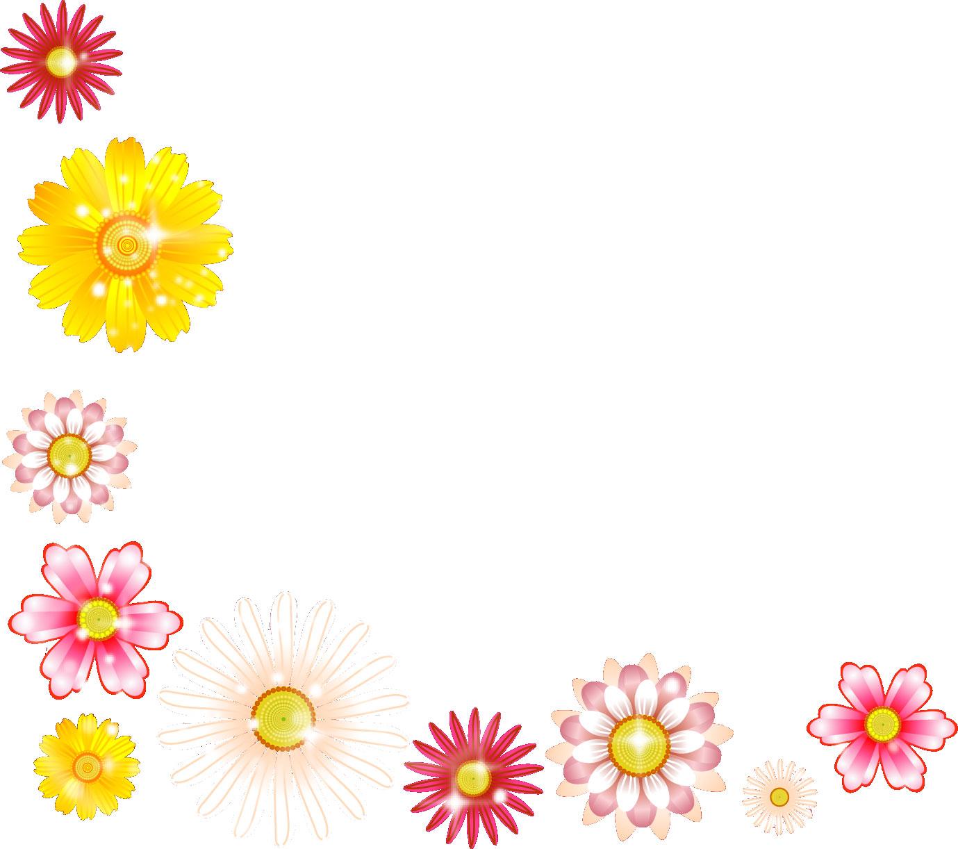 花のイラストフリー素材コーナーライン角 No062キラキラ光源