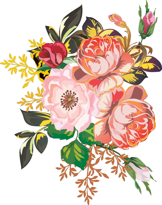 花のイラスト「和風、日本画風デザイン」/無料のフリー素材集【百花繚乱】