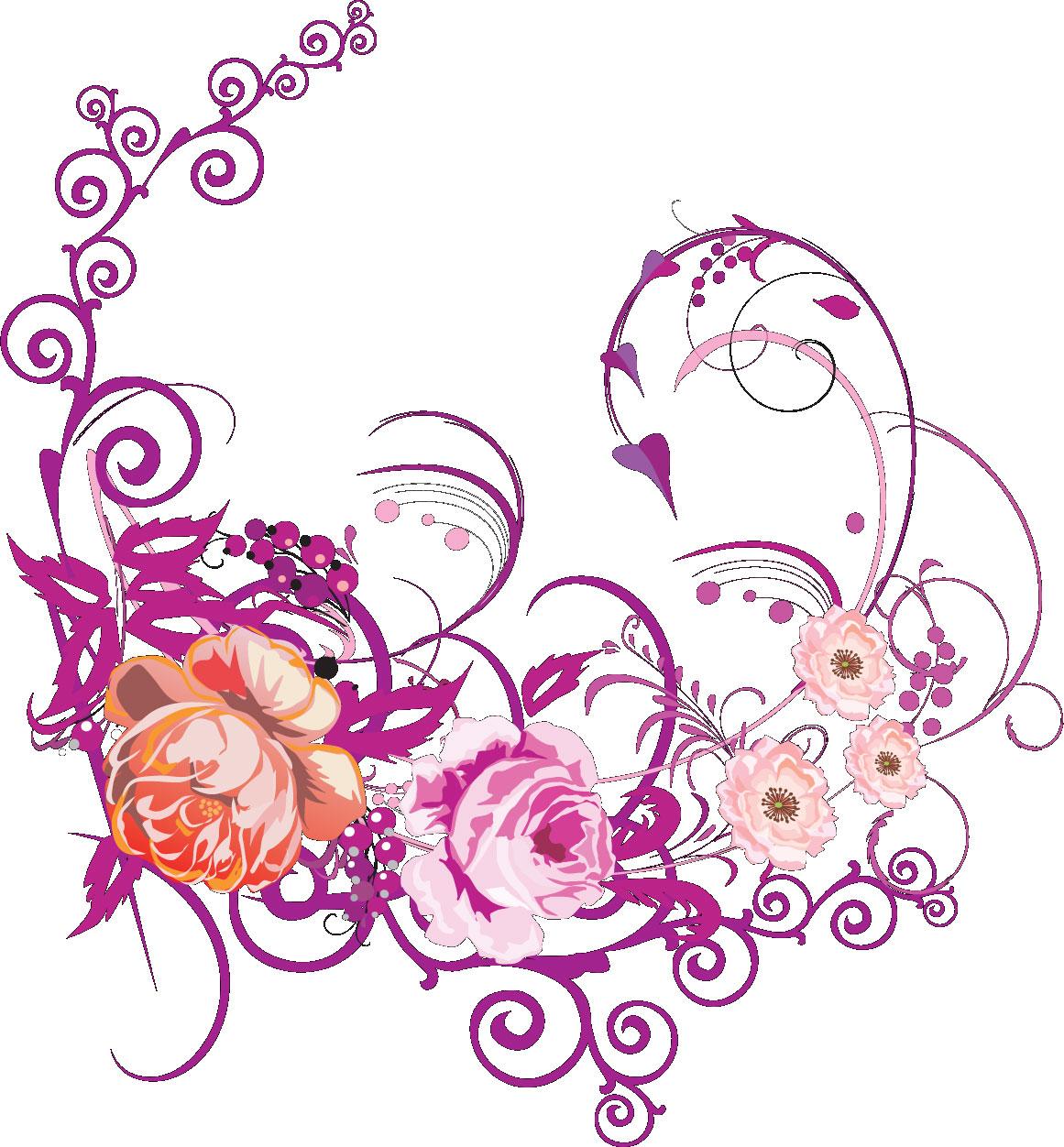 リアルタッチな花のイラスト・フリー素材/no.636『ピンク・紫』