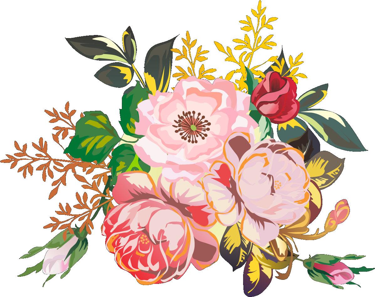 フルカラーカラフルな花のイラストフリー素材no175カラフル