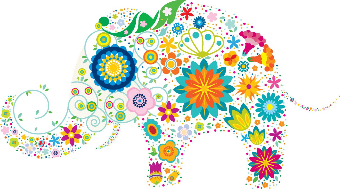 フルカラー・カラフルな花のイラスト・フリー素材/no.306『ゾウ』