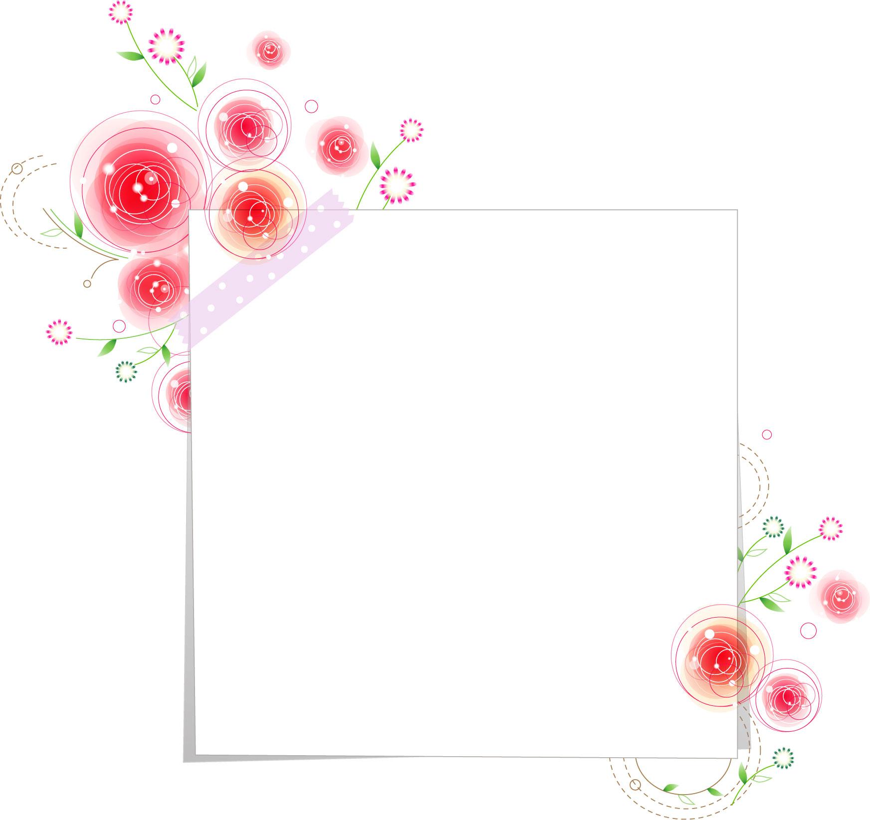 花のイラスト・フリー素材/フレーム枠no.383『白い色紙・かわいい花』