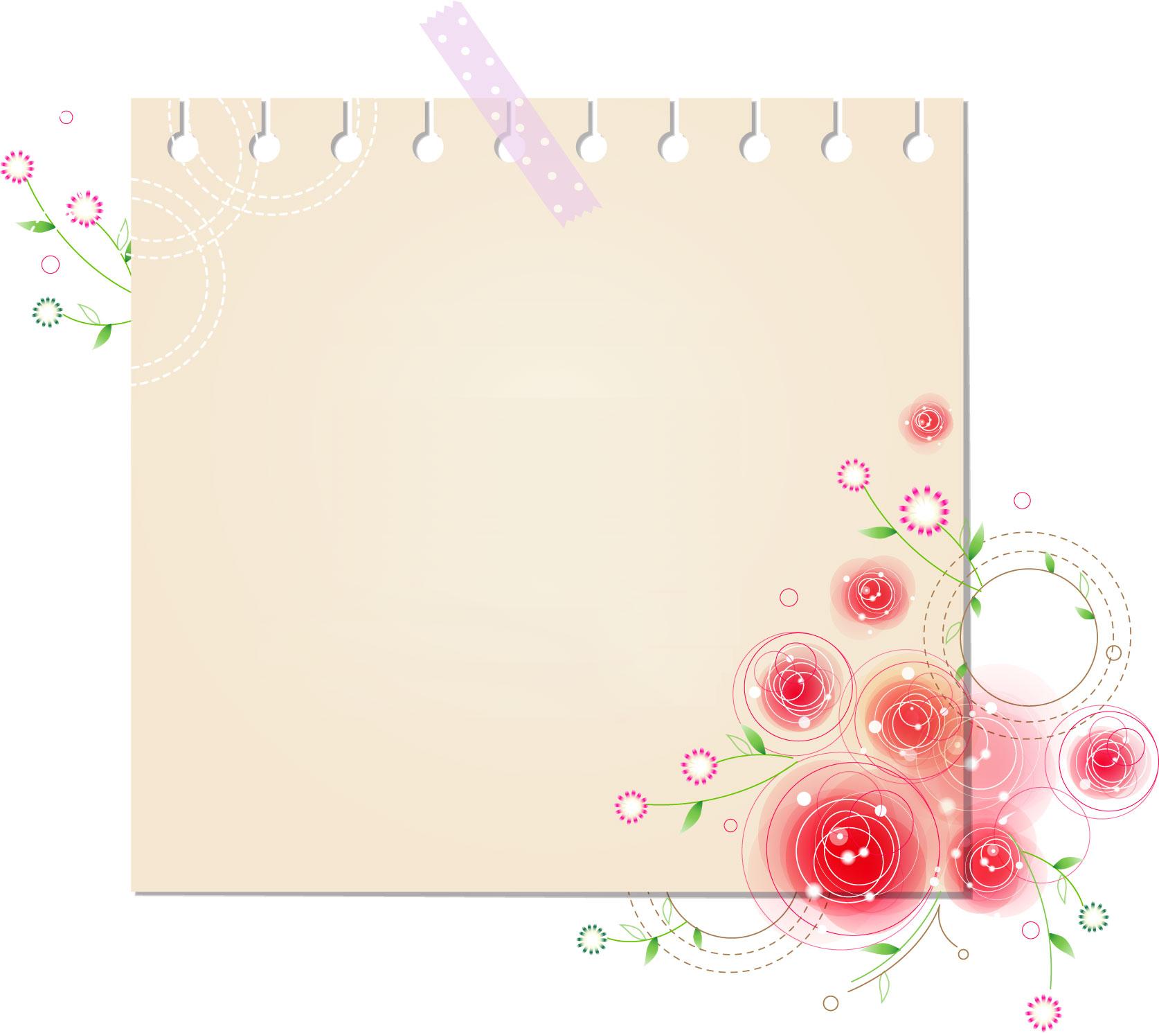花のイラスト・フリー素材/フレーム枠no.384『ルーズリーフ・かわいい花』