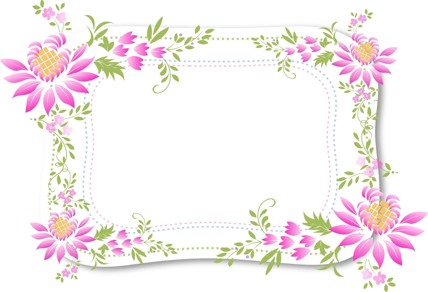花のイラスト・フリー素材/フレーム枠no.488『紫・葉・点線』