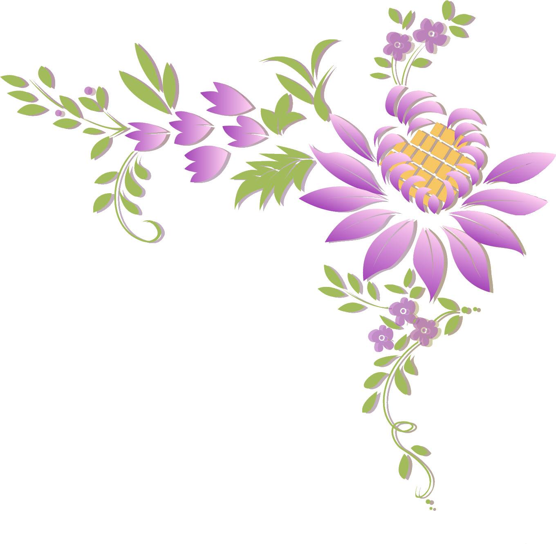 ポップでかわいい花のイラスト・フリー素材/no.334『紫・葉』
