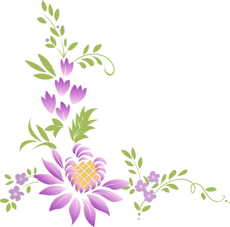 ポップでかわいい花のイラスト・フリー素材/no.335『紫・葉』